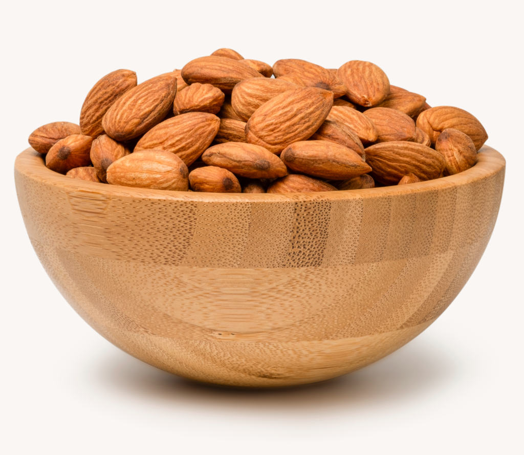fresh almonds nut wooden bowl